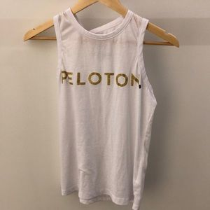 Chaser white with gold Peloton tank, sz xs, 64779